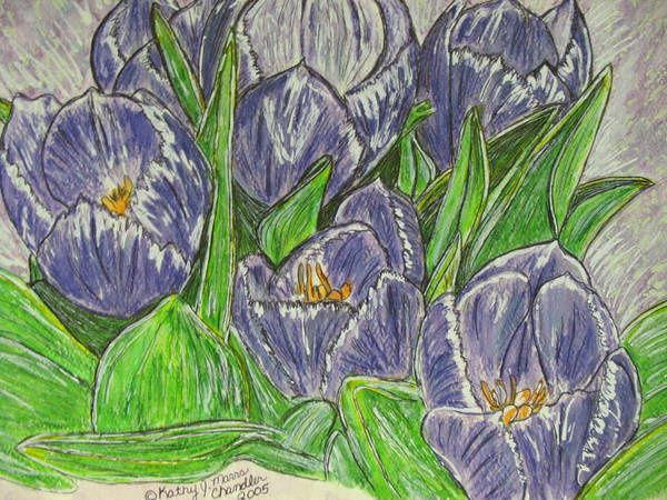 Tulips Poster featuring the painting Tulips In The Spring by Kathy Marrs Chandler