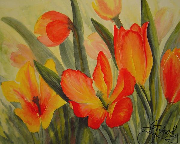 Spring Tulips Poster featuring the painting Tulips by Joanne Smoley