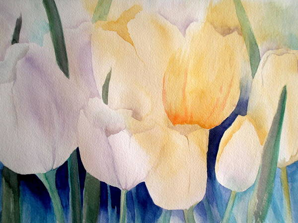 Spring Flowers Poster featuring the painting Tulips by Lisa Schorr