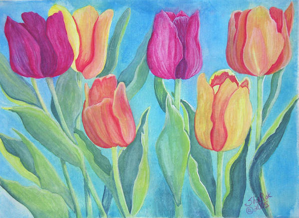 Floral Poster featuring the painting Tulips by SheRok Williams