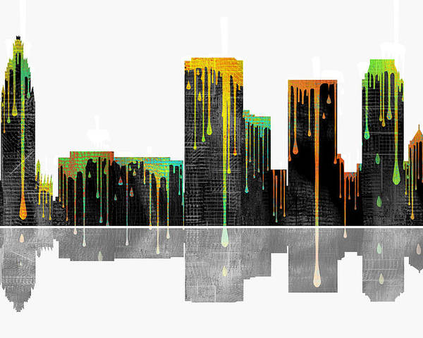 Tulsa Oklahoma Skyline Poster featuring the digital art Tulsa Oklahoma Skyline by Marlene Watson