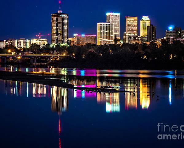 Tulsa Poster featuring the photograph Tulsa Skyline At Twilight by Tamyra Ayles