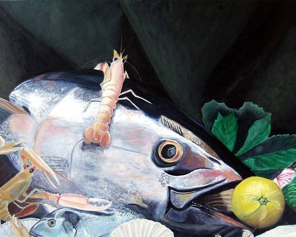 Still Life Poster featuring the painting Tuna Head In Venice by Michael Henderson