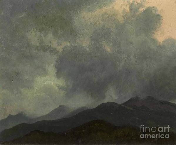 Albert_bierstadt_-_turbulent_clouds Poster featuring the painting Turbulent_clouds_white_mountains by MotionAge Designs