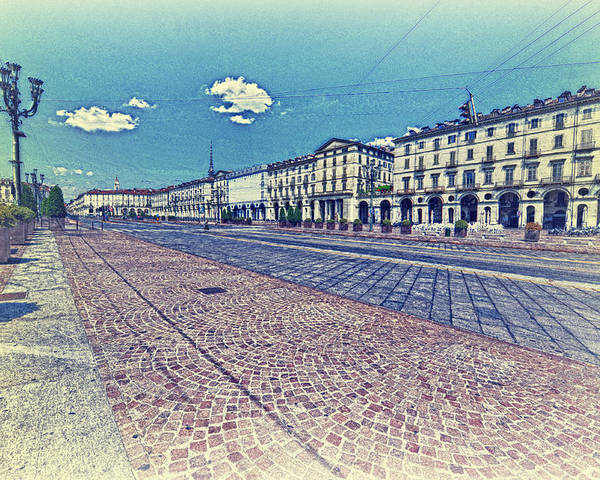 Turin Poster featuring the photograph Turin, Square Vittorio. by Adriano Bussi