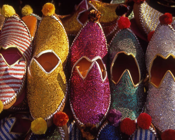 Colorful; Turkish; Slippers; Footwear; Turkey Poster featuring the photograph Turkish Slippers by Steve Outram