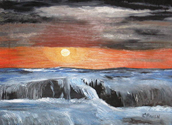 Landscape Poster featuring the painting Turmoil by L A Raven