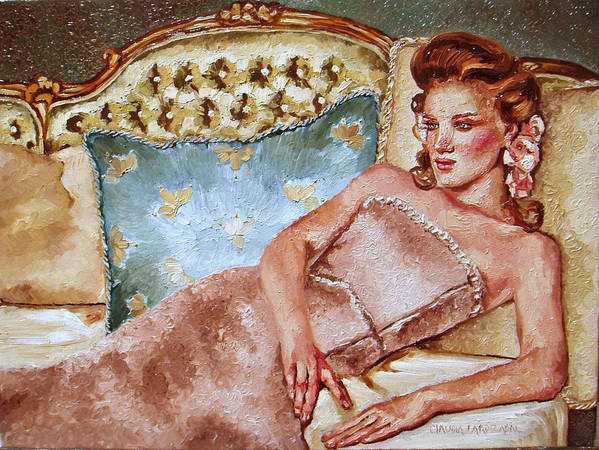 Woman Poster featuring the painting Turquoise Pillow by Claudia Lardizabal