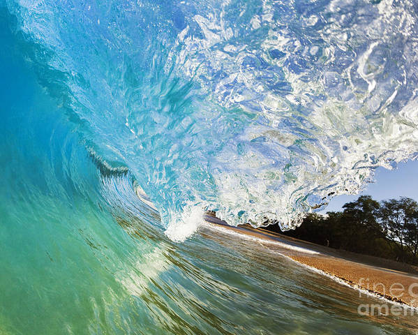 Aqua Poster featuring the photograph Turquoise Wave Tube by MakenaStockMedia