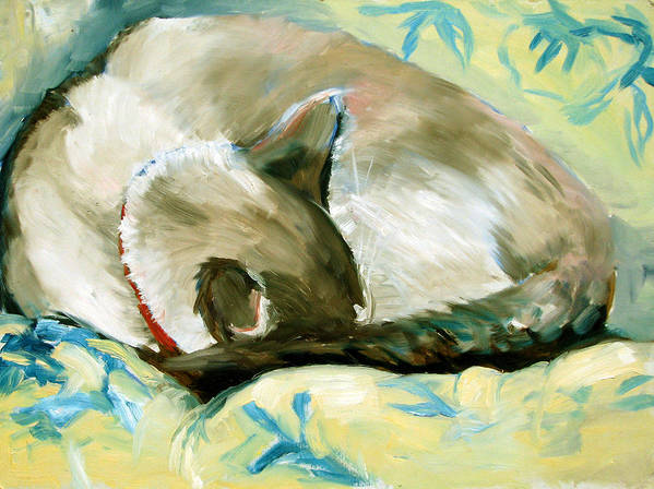 Cat Poster featuring the painting Turtle by Art Nomad Sandra Hansen