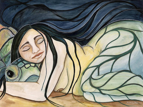 Woman Poster featuring the painting Turtle Daughter by Kimberly Kirk