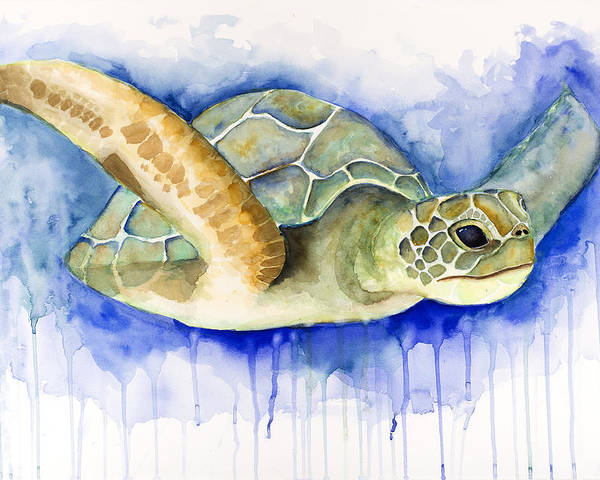 Ocean Poster featuring the painting Turtle by Esther Torres trujillo