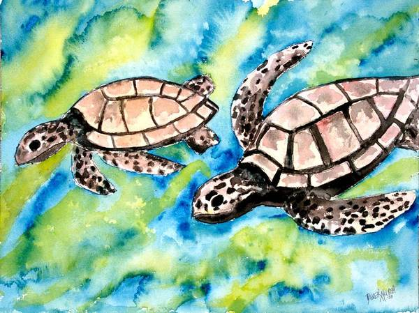 Love Poster featuring the painting Turtle Love Pair Of Sea Turtles by Derek Mccrea