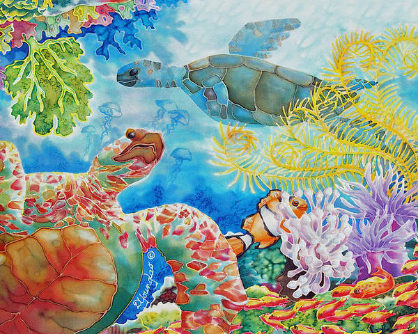 Fish Poster featuring the painting Turtle Territory by Deborah Younglao