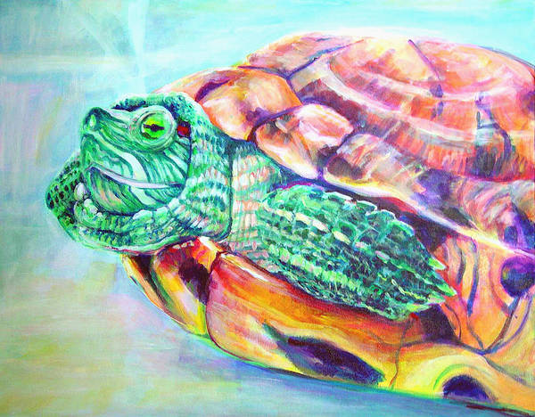 Turtle Poster featuring the painting Turttleneck by Gail Wartell