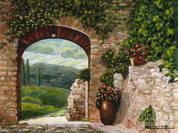 Angelica Dichiara Poster featuring the painting Tuscan Arch by Italian Art