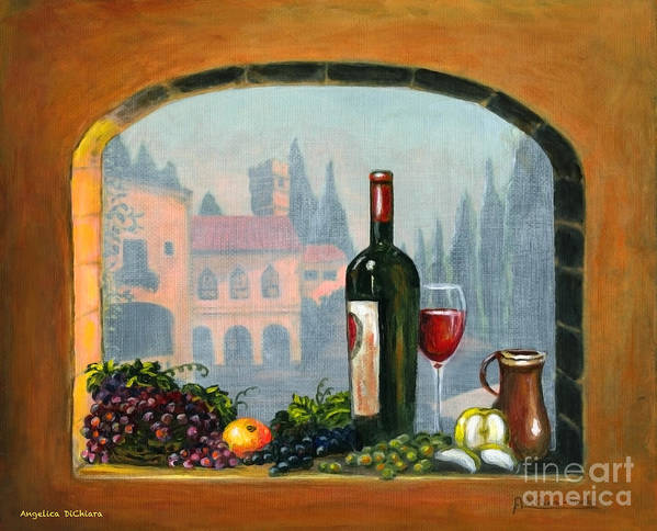 Angelica Dichiara Poster featuring the painting Tuscan Arch Wine Grape Feast by Italian Art