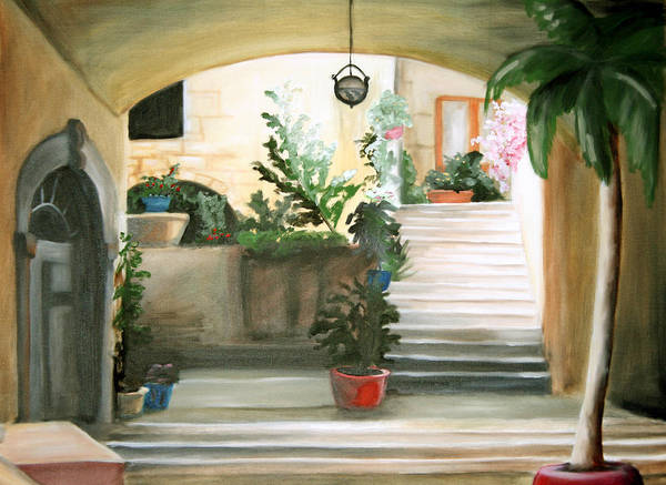 Portrait Poster featuring the painting Tuscan Courtyard Detail by Maryn Crawford