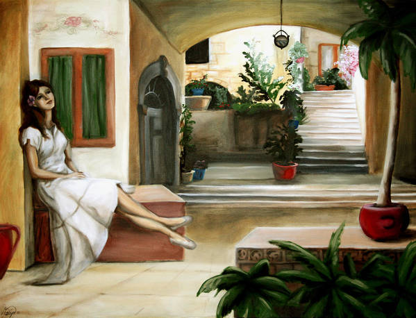 Portrait Poster featuring the painting Tuscan Courtyard by Maryn Crawford