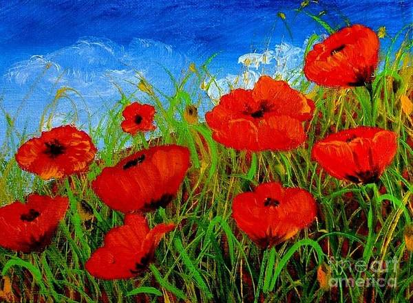 Poppies Poster featuring the painting Tuscan Poppies by Inna Montano