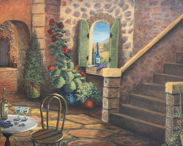 Stairway Poster featuring the painting Tuscan Retreat by Diana Miller