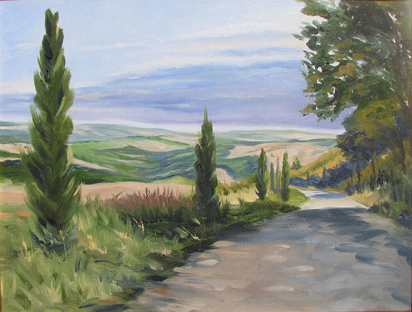 Landscape Poster featuring the painting Tuscan Walk by Jay Johnson