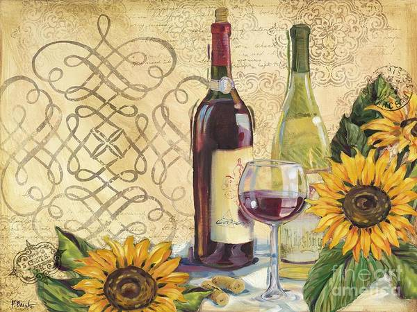 Cabernet Poster featuring the painting Tuscan Wine And Sunflowers by Paul Brent