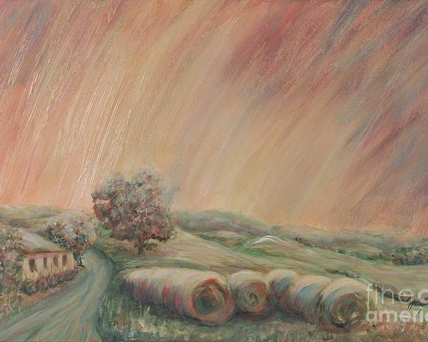 Landscape Poster featuring the painting Tuscany Hayfields by Nadine Rippelmeyer