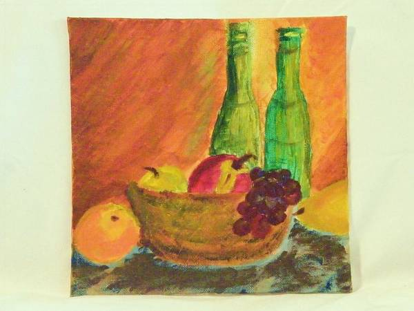 Still Lifes Poster featuring the painting Tuscany Lunch by Margaret G Calenda