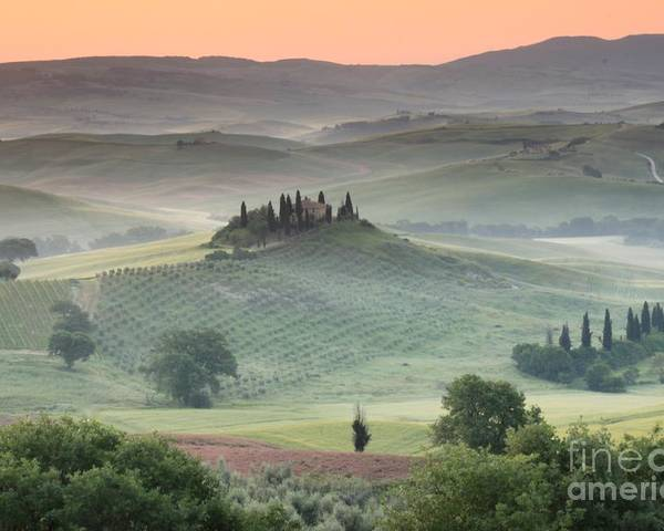 View Of The Countryside With The Belvedere In The Distance (photo) Landscape; Italian; Tuscan; Tuscany; Rural; Val D'orcia; Villa; Spring; Scenic; Atmospheric; Hilltop; Building; Architecture; Exterior; Remote; Isolated; Cloud Poster featuring the photograph Tuscany by Tuscany