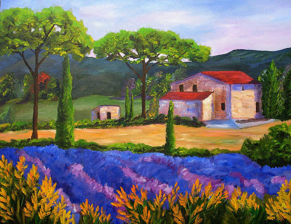 Landscape Poster featuring the painting Tuscany Villa by Mary Jo Zorad