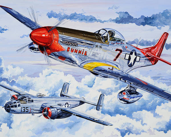 P-51 Mustang Poster featuring the painting Tuskegee Airman by Charles Taylor