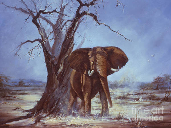Bull Elephant Poster featuring the painting Tusker by Silvia Duran