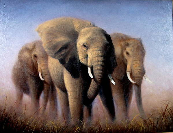 Realism Poster featuring the painting Tusks by Donelli DiMaria
