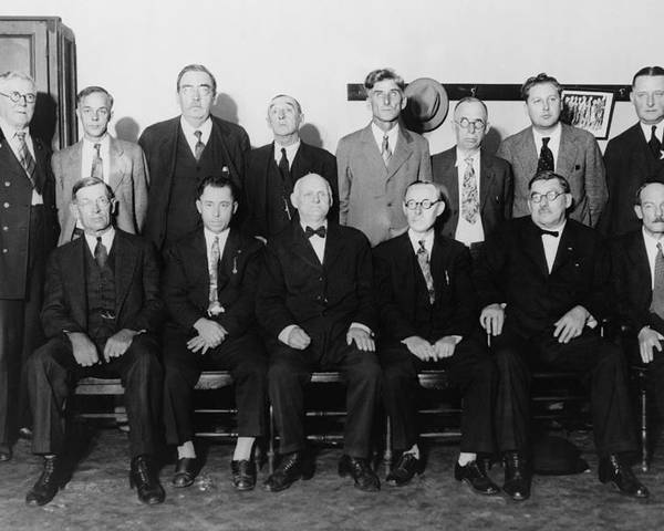 History Poster featuring the photograph Twelve-man Jury That Convicted Al by Everett