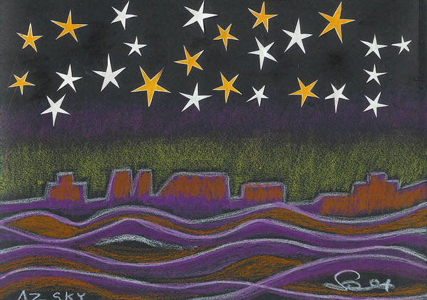 Sky Poster featuring the drawing Twighlight Over Arizona Horizon by Ingrid Szabo
