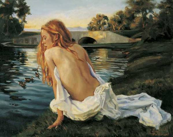 Young Poster featuring the painting Twilight Reflection by Jean Hildebrant