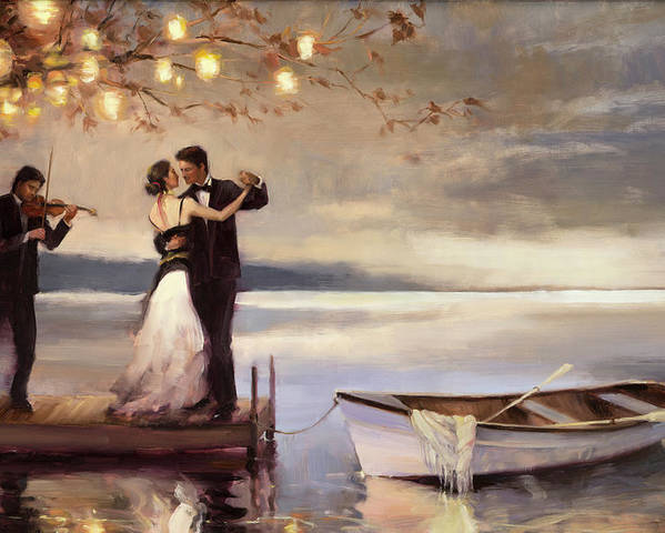 Romantic Poster featuring the painting Twilight Romance by Steve Henderson