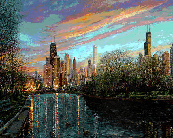 City Poster featuring the painting Twilight Serenity II by Doug Kreuger