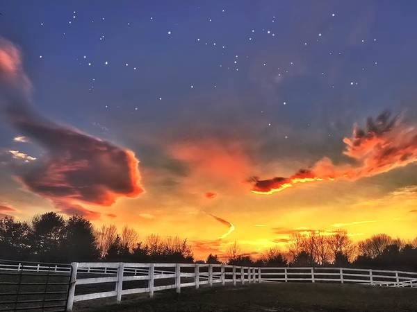 Farm Poster featuring the photograph Twilight Sunset by Michael Krugman