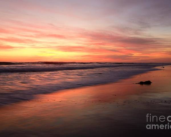 Landscapes Poster featuring the photograph Encinitas Waves by John F Tsumas