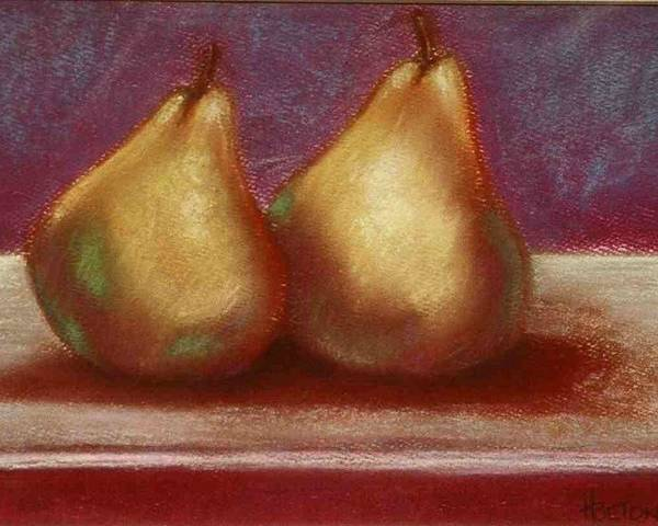 Pears Poster featuring the pastel Twins by Helen O Hara