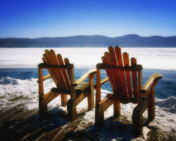 Landscape Poster featuring the photograph Two Adirondack Chairs by George Oze