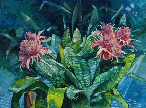 Floral Poster featuring the painting Two Against Three by Elizabeth Carr