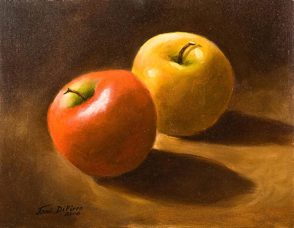 Poster featuring the painting Two Apples by Joni Dipirro