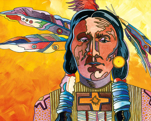 Native American Paintings Poster featuring the painting Two Feathers by Bob Coonts