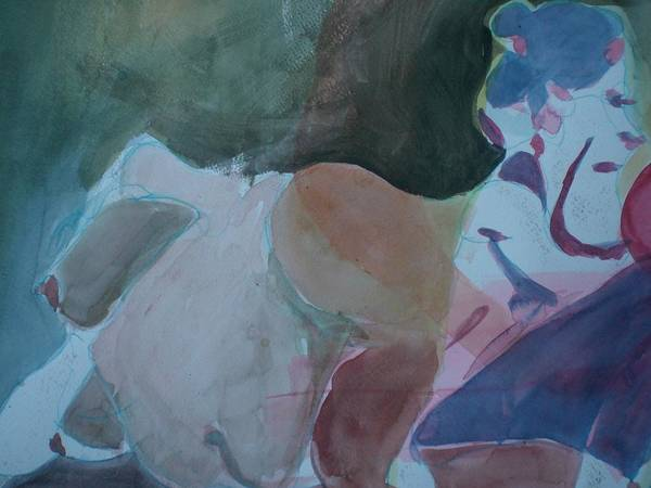Nude Poster featuring the painting Two Figures by Aleksandra Buha