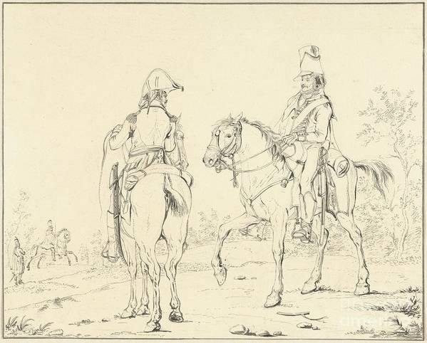 Two French Cavalrymen On Horseback Poster featuring the painting Two French Cavalrymen On Horseback by Celestial Images