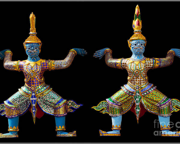 God Buddhism Thailand Culture Color Poster featuring the photograph Two Gods by Ty Lee
