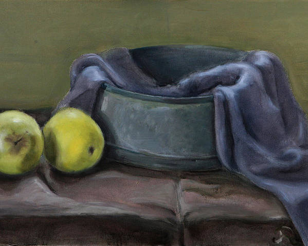 Still-life Apples Green Poster featuring the painting Two Green Apples by Raimonda Jatkeviciute-Kasparaviciene